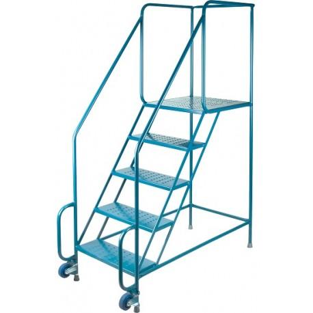 "Tilt-N-Roll Ladder: 5 Steps, 77"" Hieght"