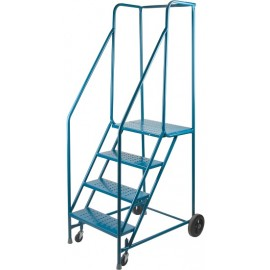 "Rolling Steel Ladder: 4 steps, 37"" platform"