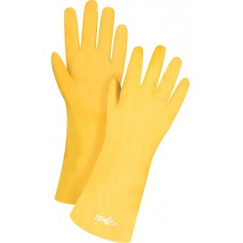 "PVC Gloves: rough finish, interlock lining, 14"" gauntlet"