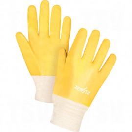 PVC Gloves: rough finish, interlock lining, knit wrist