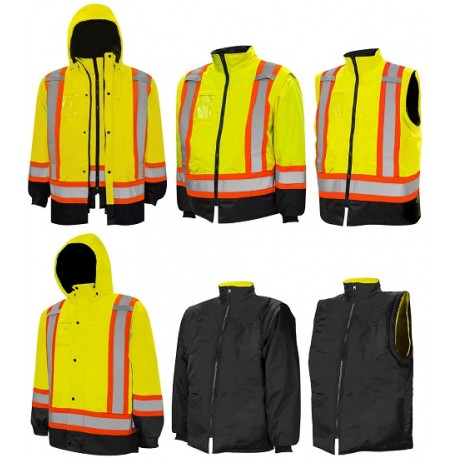 Traffic Parka: 6 in 1 Hi-Vis Lime Yellow