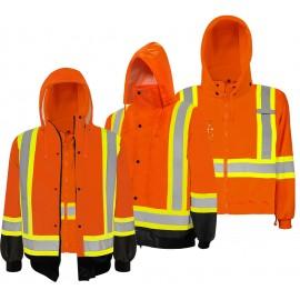 Traffic Jacket: 3 in 1 Hi-Vis Orange / Black