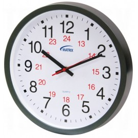 Wall Clock: battery operated, 12/24 hr.