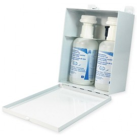 Eyewash Cabinet: metal w/ 2x1L solution