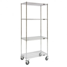"Wire Shelf Cart: 24""W x 48""L x 69""H"