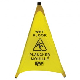 Bilingual Pop-Up Safety Cone: Caution Wet Floor