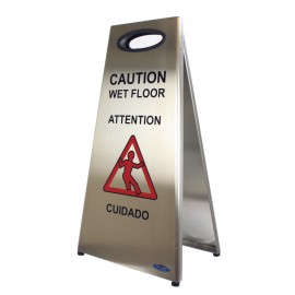 Wet Floor Sign: Stainless Steel