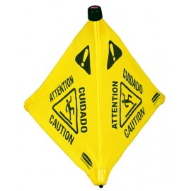 RUBBERMAID POP-UP SAFETY CONE: Caution Wet Floor
