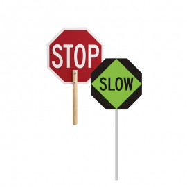 Stop/Slow Sign With Pole