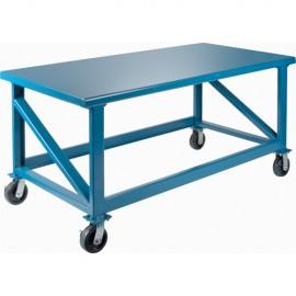 """Steel Workbench: 30"""" x 72"""" Mobile Heavy Duty"""