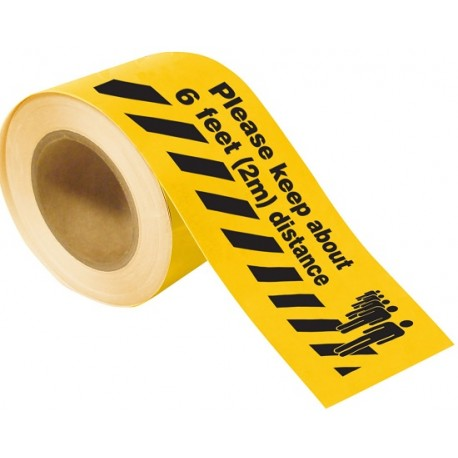 Floor Tape: Please Keep About 6 Feet Distance