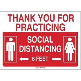 Sign: Aluminum - Thank You For Practicing Social Distancing