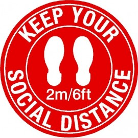 Floor Sign: Keep Your Social Distance 2M/6ft