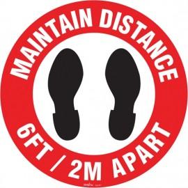 "Floor SigN: Maintain Distance, 17"""