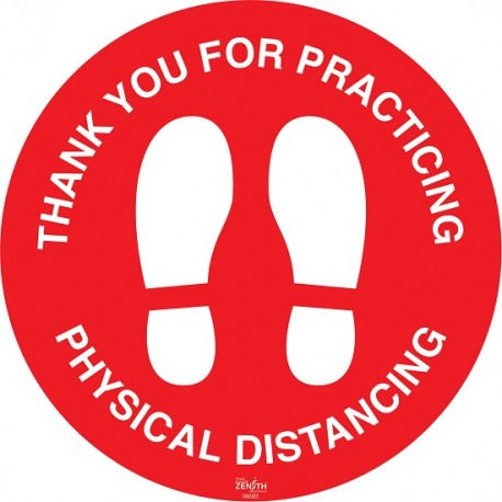 """Floor Sign: Physical Distance, 17"""""""