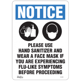 """Sign: Vinyl, """"Please Use Hand Sanitizer and Face Mask"""""""