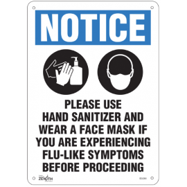 """Sign: Plastic, """"Please Use Hand Sanitizer and Face Mask"""""""